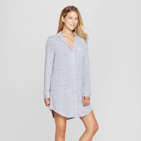 Women's Cozy Notch Collar Sleep Button-Up Shirt - Gilligan & O'Malley™ Gray - image 1 of 2