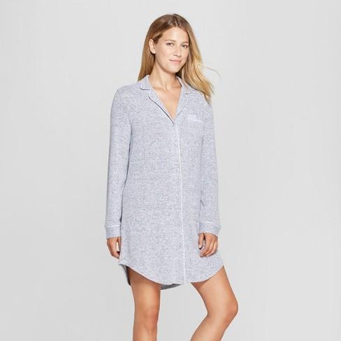 Women s Cozy Notch Collar Sleep Button-Up Shirt - Gilligan   O Malley™ Gray 1add4ba92