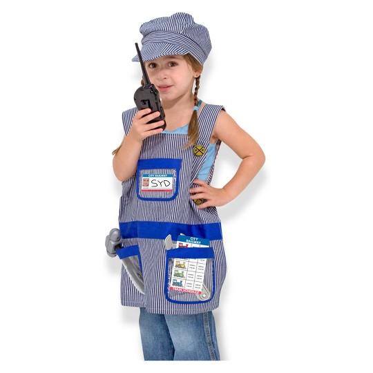 Melissa & Doug Train Engineer Role Play Costume Dress-Up Set (7pc), Adult Unisex, Size: One Size image number null