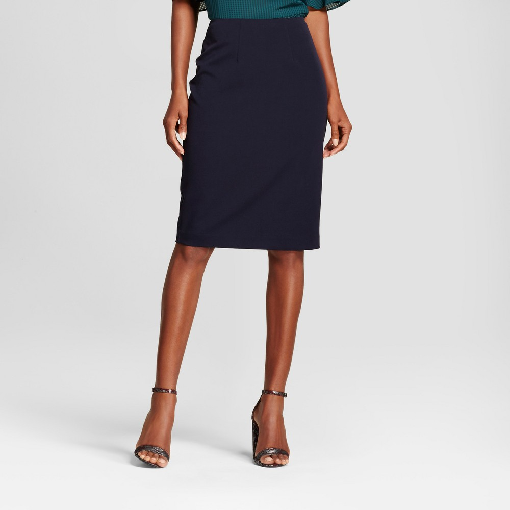 Image of Women's Bi-Stretch Twill Pencil Skirt - A New Day Federal Blue 0