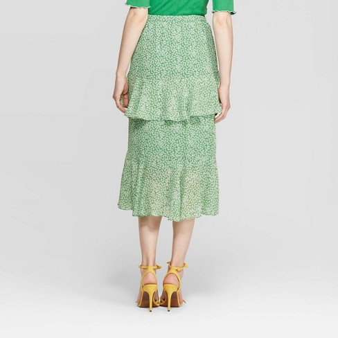 12a3536fdc0b Women's Mid-Rise Tiered Ruffle A Line Skirt - Who What Wear™ Green/White