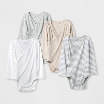 Baby 4pk Long Sleeve Kimono Bodysuit - Cloud Island™ White 18M