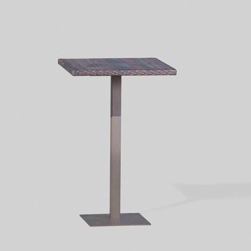 Dominic Square Wicker Outdoor Patio Bar Table - Brown - Christopher Knight Home