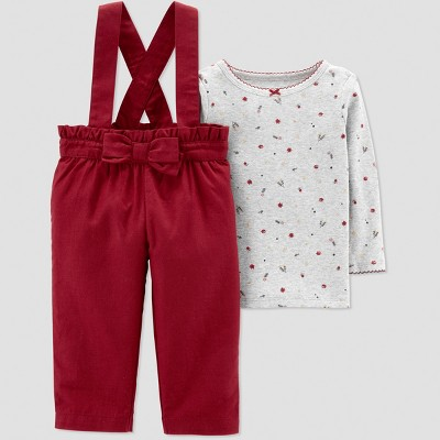 Baby Girls' 2pc Burgundy Bow Overall Set - Just One You® made by carter's Red/Gray Newborn