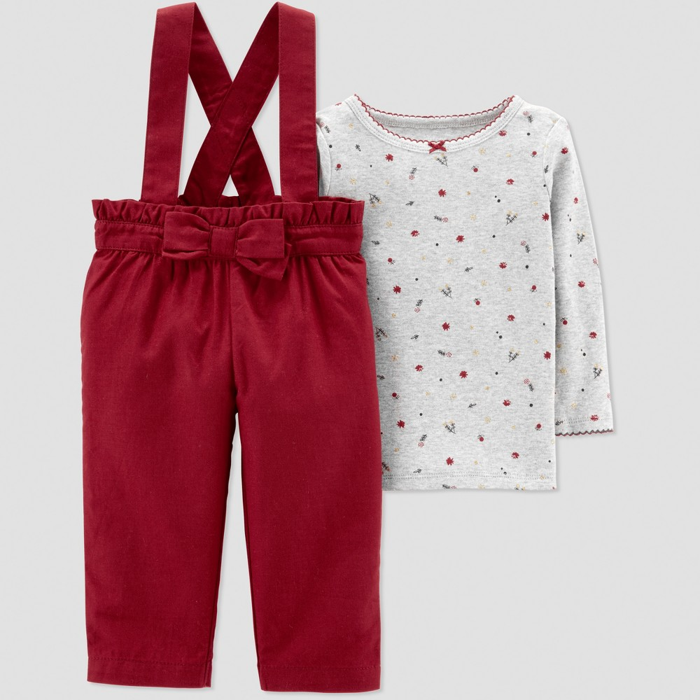 Baby Girls' 2pc Burgundy Bow Overall Set - Just One You made by carter's Red/Gray 18M