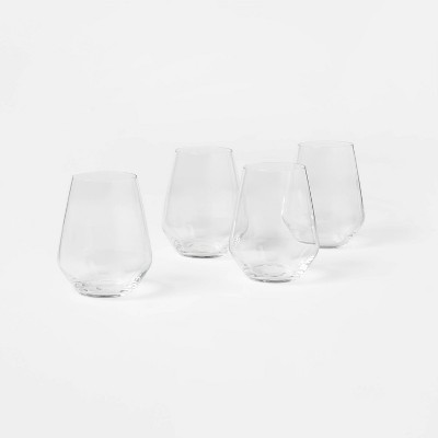 18oz 4pk Glass Strafford Stemless Wine Glasses - Threshold™