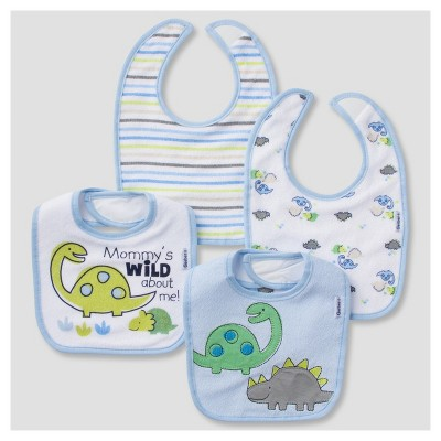 Baby Boys' 4pk Terry Bib Set Dino - Gerber®