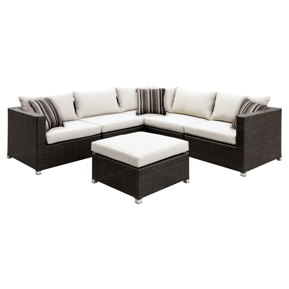 Hunt 3pc All-Weather Wicker Patio Conversation Set w/ Ottoman - Brown/Classic Ivory - Furniture of America