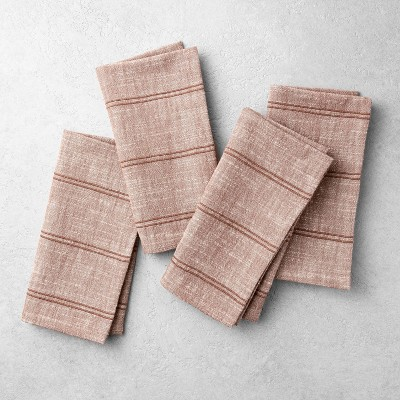 4pk Rib Stripe Napkin Pumpkin Brown - Hearth & Hand™ with Magnolia