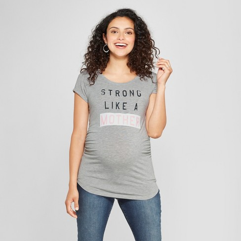 a4571c3c72a96 Maternity Strong Like A Mother Short Sleeve Graphic T-Shirt - Grayson  Threads Light Heather Gray