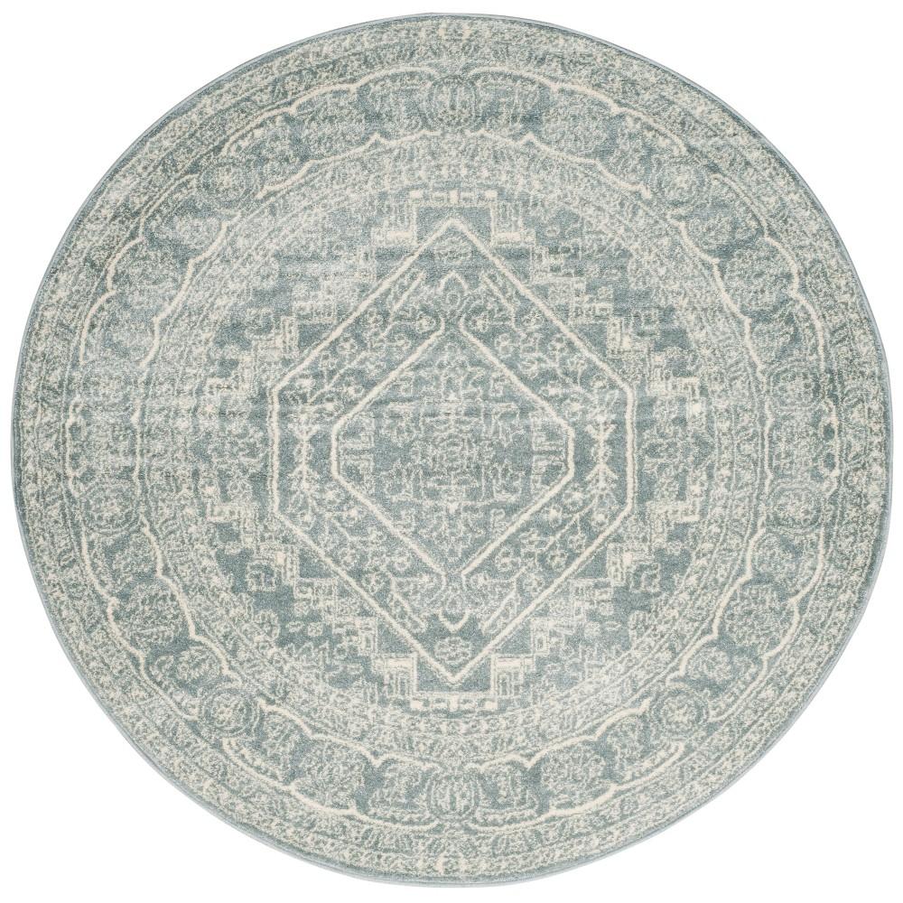 Round Medallion Area Rug Slate/Ivory