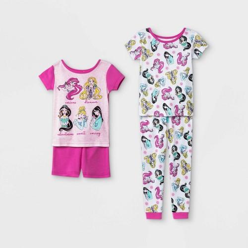 Toddler Girls 4pc 100 Cotton Disney Princess Snug Fit Pajama