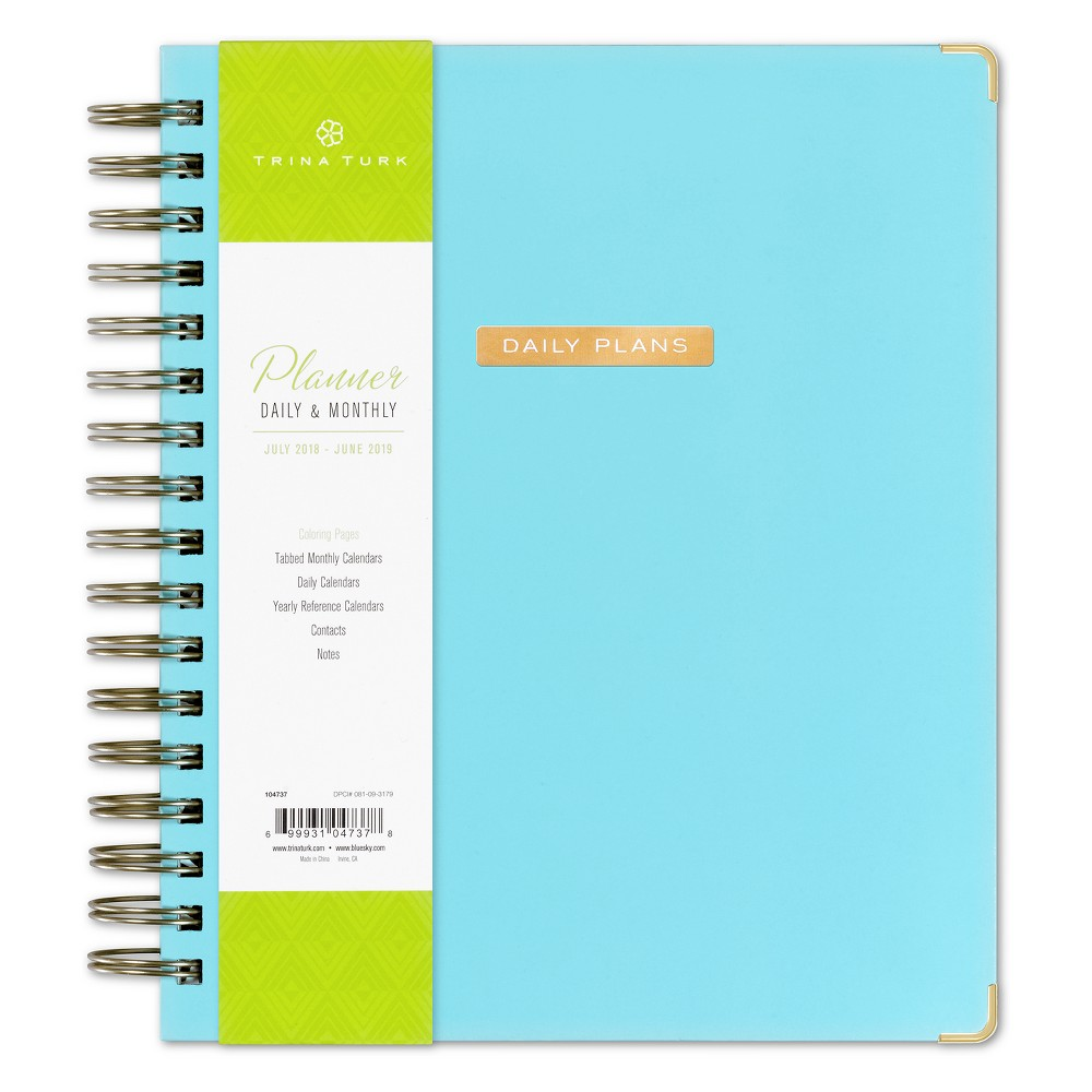 2018 - 2019 Trina Turk Planner Printed 7x9 Daily/Monthly Wire-bound, Multi-Colored