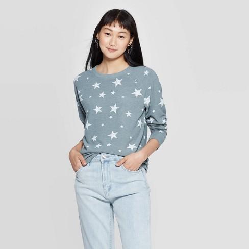 Women's Star Graphic Sweatshirt (Juniors') - Blue  - image 1 of 2