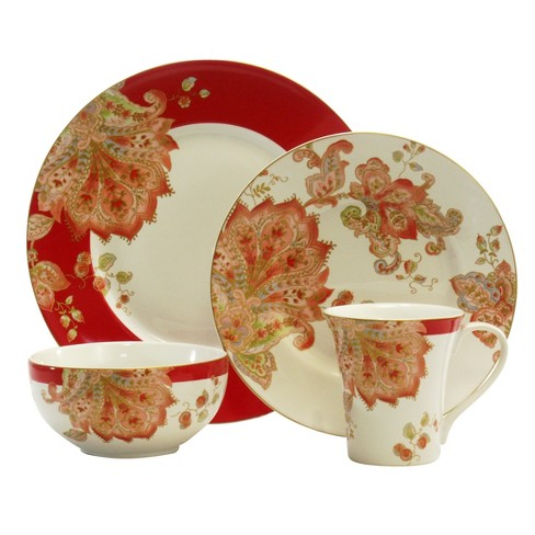 222 Fifth® Nora Porcelain 16pc Dinnerware Set Red - image 1 of 1