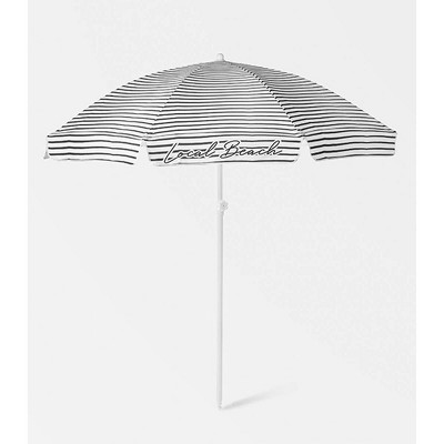 6.5' Round Brush Stripe Beach Umbrella - Black and White - Local Beach