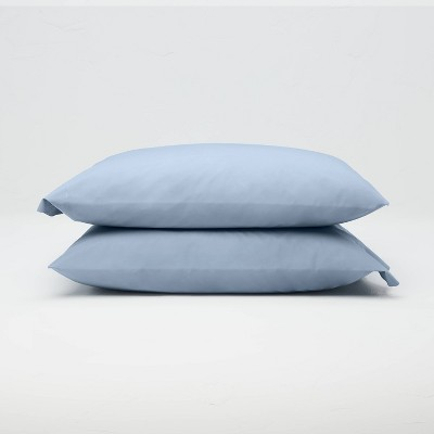 Standard Washed Supima Percale Solid Pillowcase Set Deep Sky Blue - Casaluna™