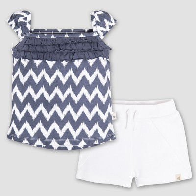 Burt's Bees Baby® Girls' Organic Cotton Ruffle T-Shirt and Knit Terry Shorts Set - Cloud 0-3M