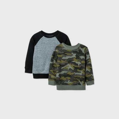 Toddler Boys' 2pk Fleece Crew Neck Sweatshirt - Cat & Jack™ Black