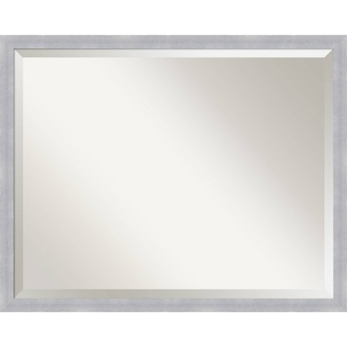 Grace Brushed Framed Bathroom Vanity, Nickel Framed Vanity Mirror