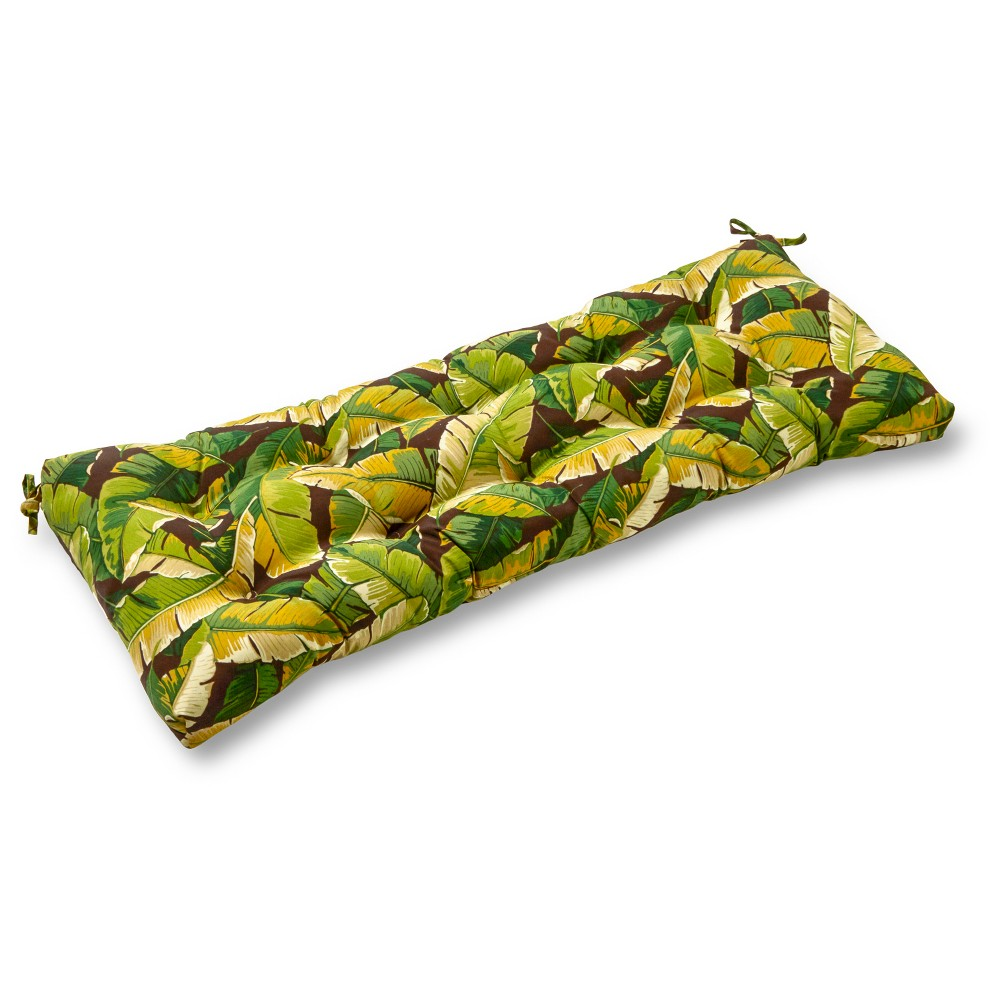 Image of Palm Leaves Green Outdoor Swing and Bench Cushion - Kensington Garden