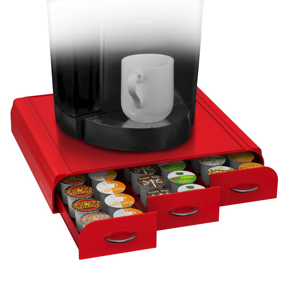 Image of Mind Reader Coffee Pod 36 Capacity Triple Drawer -Red, Red
