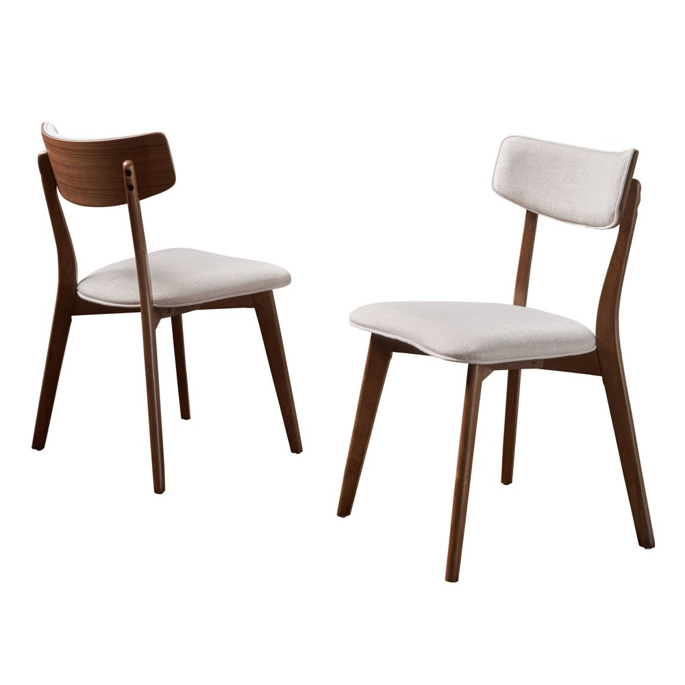 Chazz Set of 2 Mid-Century Dining Chair Beige - Christopher Knight Home