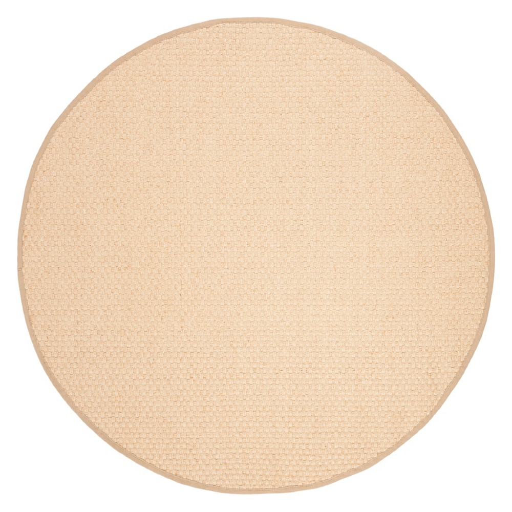 6' Solid Loomed Round Area Rug Natural/Beige - Safavieh, White