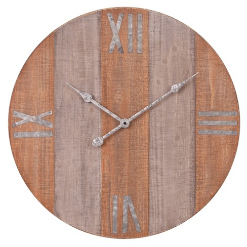 """24"""" Rustic Wood Plank and Metal Frameless Wall Clock Brown - Patton Wall Decor - image 1 of 4"""
