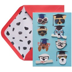 Graduation Card Dogs with Hats and Glasses - Papyrus