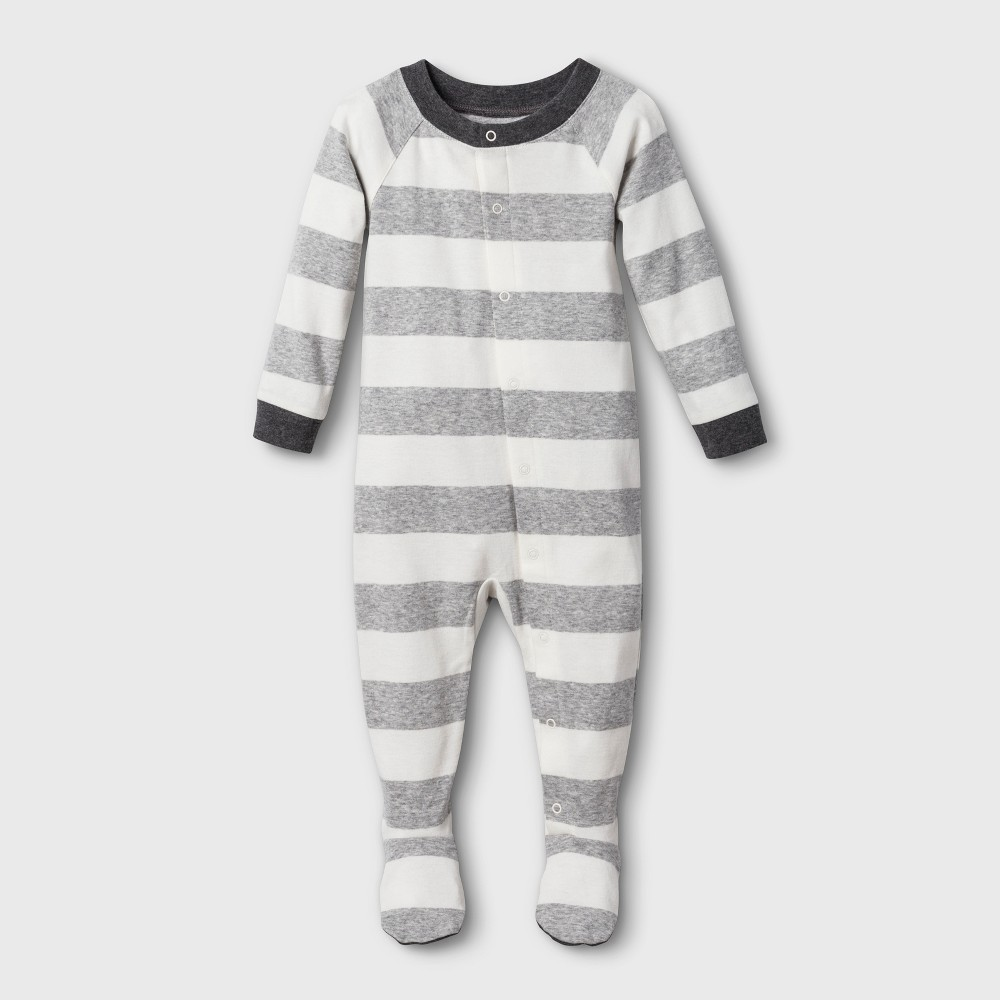 Image of Baby Striped Union Suit - Gray 3-6M, Adult Unisex