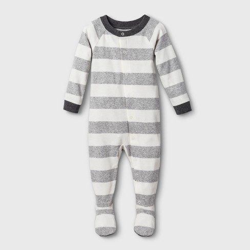 Baby Striped Union Suit - Gray - image 1 of 3