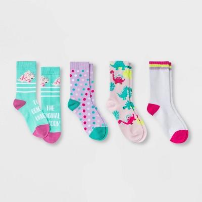 Girls' 4pk Dino Crew Socks - Cat & Jack™ Light Pink