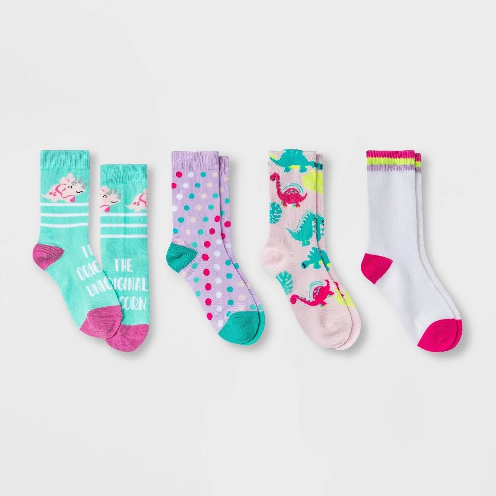 Girls 39 4pk Dino Crew Socks Cat 38 Jack 8482 Light Pink L