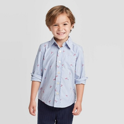 OshKosh B'gosh Toddler Boys' Long Sleeve Lobster Woven Button-Down Shirt - Medium Blue 12M