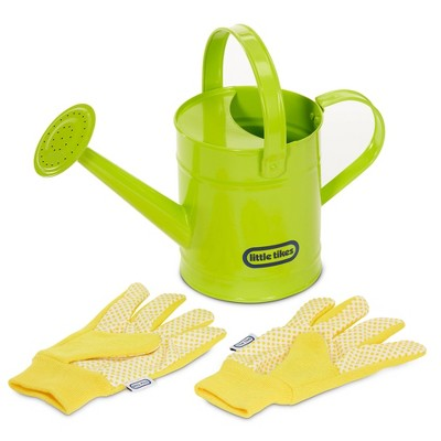 Little Tikes Growing Garden Lightweight & Durable Metal Watering Can & Gloves for Kids' Gardening Tools