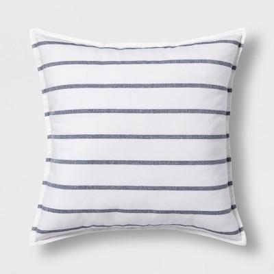 Woven Stripe Oversize Square Throw Pillow Blue - Threshold™