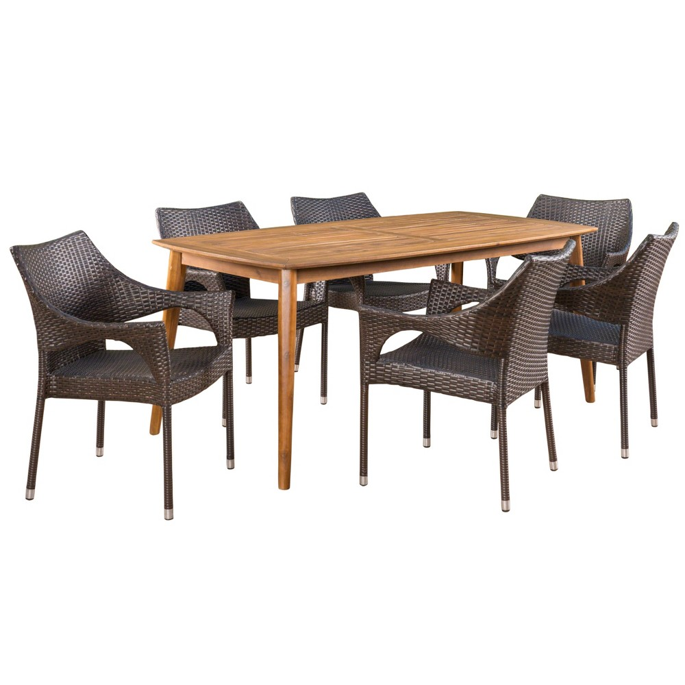 Clint 7pc Acacia and Wicker Dining Set - Teak/Brown (Brown/Brown) - Christopher Knight Home