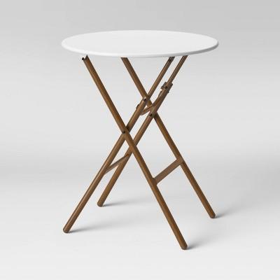 French Café Folding Patio Bistro Table White/Brown - Threshold™