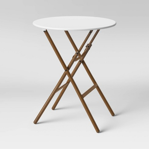 French Caf Folding Patio Bistro Table White/Brown - Threshold™ - image 1 of 4