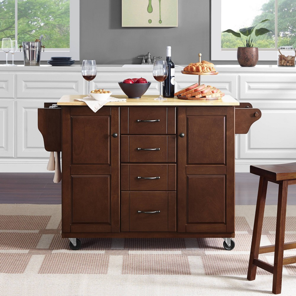 Eleanor Kitchen Cart with Wood Top Natural - Crosley