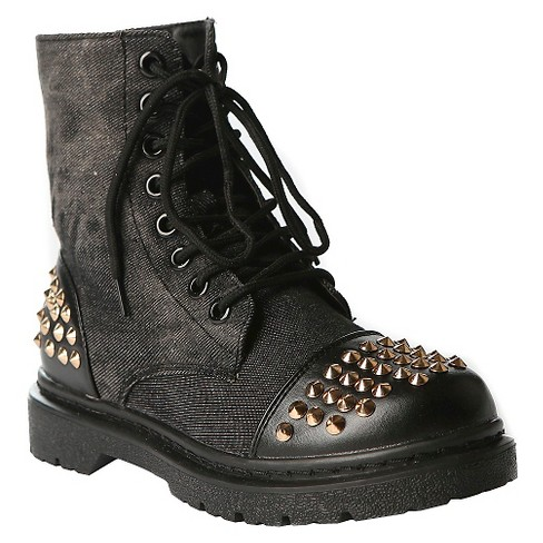 Gia-Mia Girls' Rock Star Studded Combat Boots - Black - image 1 of 3