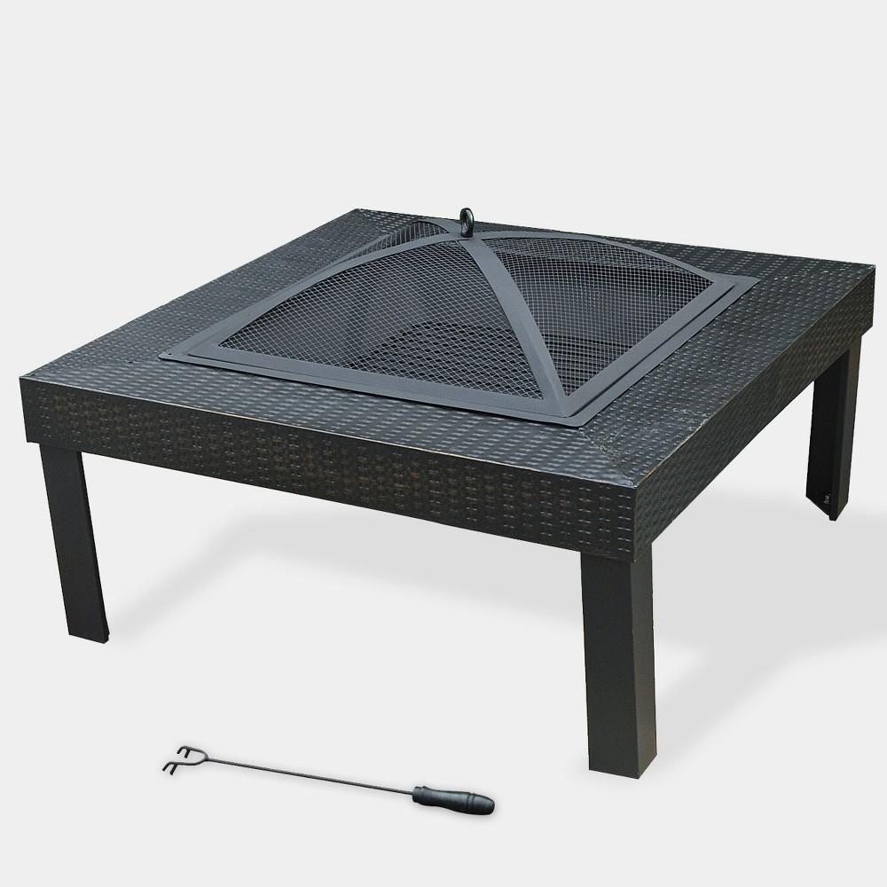 Square Woven Design Fire Pit - Black - Leisurelife