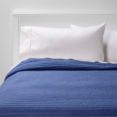 Full/Queen Garment Washed Microfiber Quilt Navy - Room Essentials™