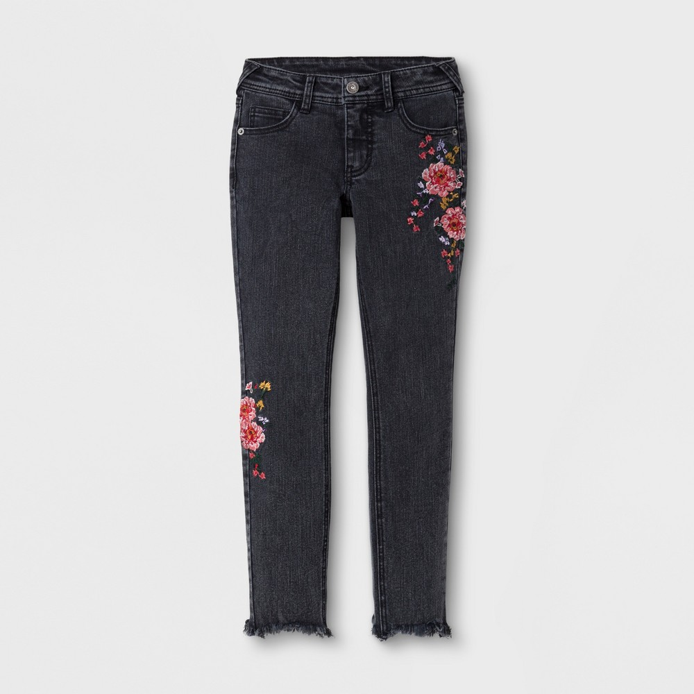 Girls' Embroidered Jeans - art class Black S