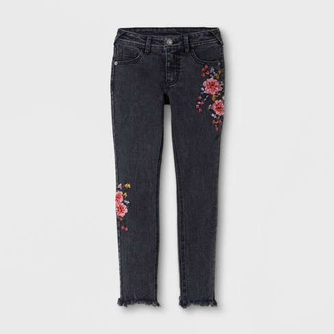 Girls' Embroidered Jeans - art class™ Black L - image 1 of 3