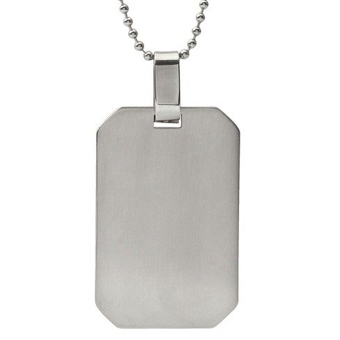 "Men's Vance Co. Rectangle Engraveable Dog Tag Pendant in Stainless Steel - Gray (20"") - image 1 of 4"