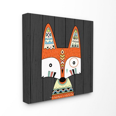 Tribal Boho Fox Stretched Canvas Wall Art (24 x24 )- Stupell Industries