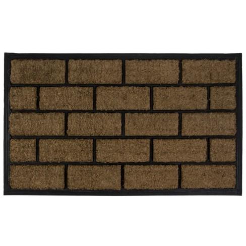 "Northlight Brown and Black Brick Rectangular Doormat 18"" x 29.5"" - image 1 of 3"