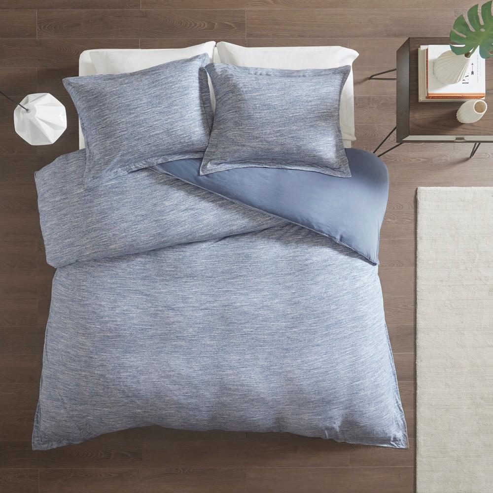 Full/Queen 3pc Spacedye Cotton Jersey Duvet Cover Set Blue